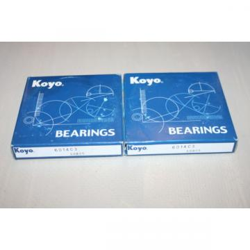 (Lot of 2) Koyo 6014-C3 Deep Groove Bearings 6014C3